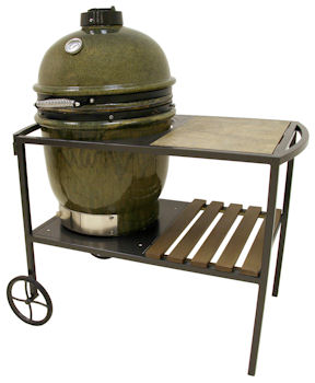 Bayou Classic Ceramic Charcoal Grill with Table Cart