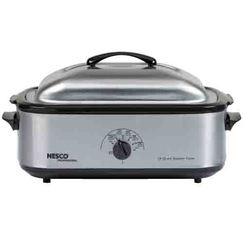 Nesco 18 QT Stainless Steel Roaster Porcelain Cookwell 4818-25PR