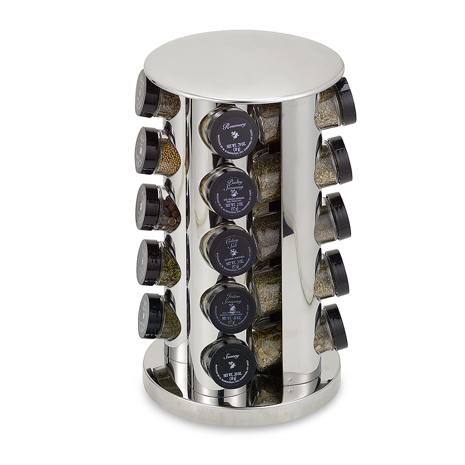 Kamenstein Stainless Steel 20 Jar Filled Revolving Spice Rack